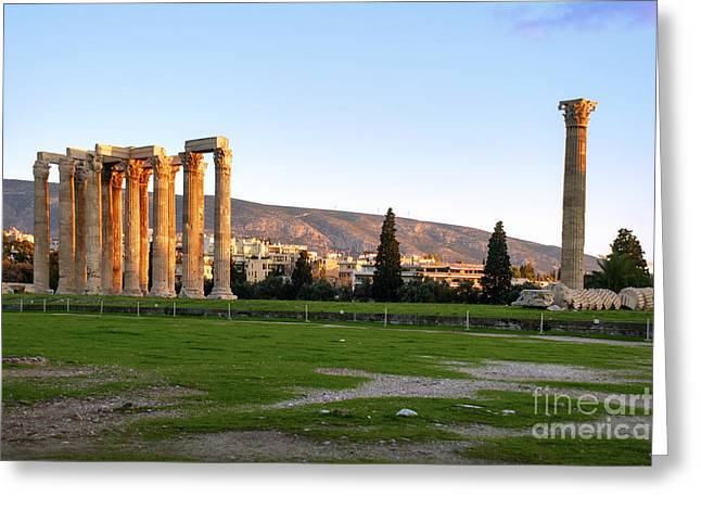 Temple West Greeting Cards - Temple of Olympian Zeus. Athens Greeting Card by Ilan Rosen