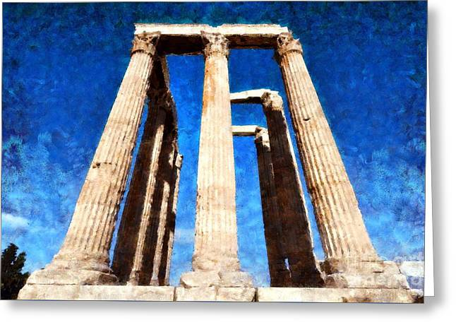 Temple Of Olympian Zeus  Greeting Card by George Atsametakis