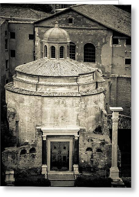 E Black Greeting Cards - Temple of Romulus Greeting Card by David Waldo