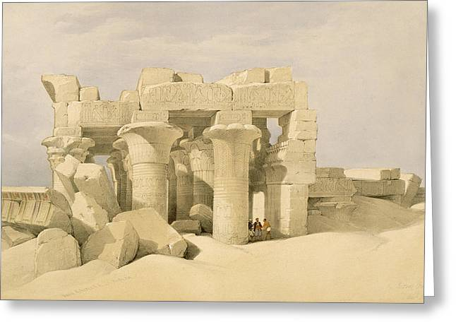 Ruins Paintings Greeting Cards - Temple of Sobek and Haroeris at Kom Ombo Greeting Card by David Roberts