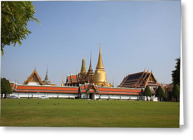 Temple Photographs Greeting Cards - Temple of the Emerald Buddha - Grand Palace in Bangkok Thailand - 01131 Greeting Card by DC Photographer