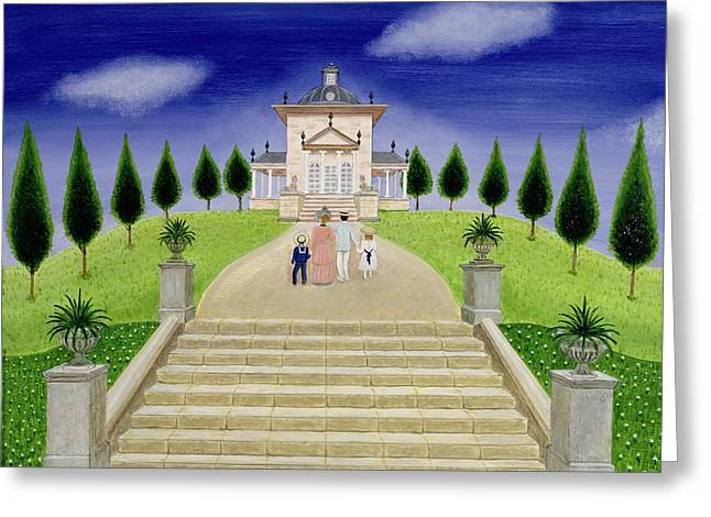 Stepping Greeting Cards - Temple Of The Four Winds Greeting Card by Mark Baring