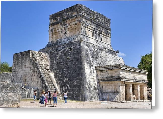 Mayan Jaguar Greeting Cards - Temple of the Jaguars at Chichen Itza Greeting Card by Mark Tisdale