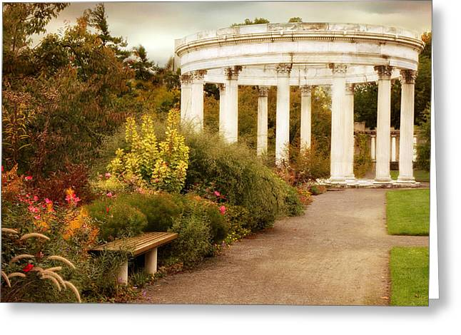Border Greeting Cards - Temple of the Sky in Autumn Greeting Card by Jessica Jenney