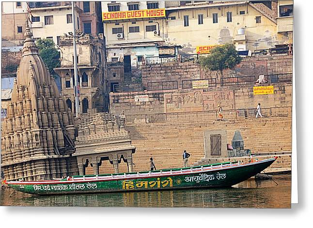 Temple On Boat Greeting Card by Money Sharma