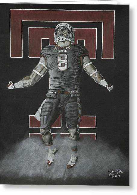 Football Pastels Greeting Cards - Temple Football  Greeting Card by Jordan Spector