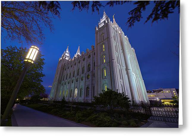 Salt Lake City - Utah Greeting Cards - Temple Perspective Greeting Card by Chad Dutson