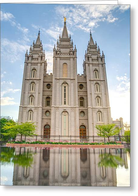 Salt Lake City Temple Greeting Cards - Temple Reflection Greeting Card by Dustin  LeFevre