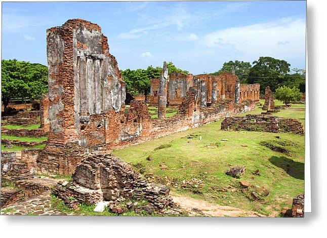 Ayutthaya Greeting Cards - Temple Ruins in Ayutthaya Greeting Card by Artur Bogacki