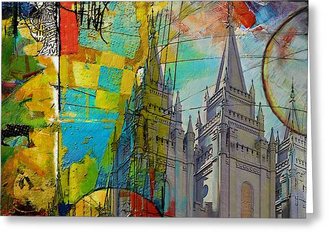 Temple Square At Salt Lake City Greeting Card by Corporate Art Task Force