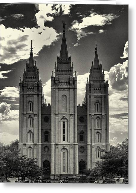 Salt Lake City Temple Photography Greeting Cards - Temple Square Black and White Greeting Card by Joshua House
