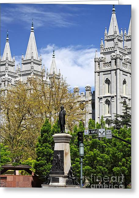 Salt Lake City Temple Greeting Cards - Temple Square Greeting Card by Charline Xia