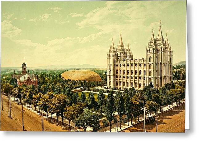 Temple Square Greeting Cards - Temple Square Church Salt Lake City 1899 Greeting Card by Movie Poster Prints