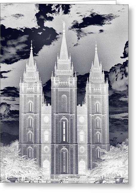 Saint Joseph Greeting Cards - Temple Square Nightmare Greeting Card by Joshua House