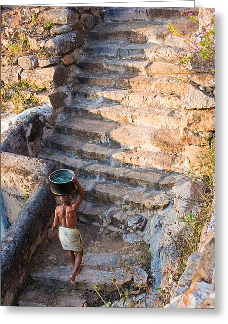 Indian Greeting Cards - Temple Steps Greeting Card by Nila Newsom