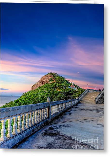 Stepping Stones Greeting Cards - Temple Sunset Greeting Card by Adrian Evans