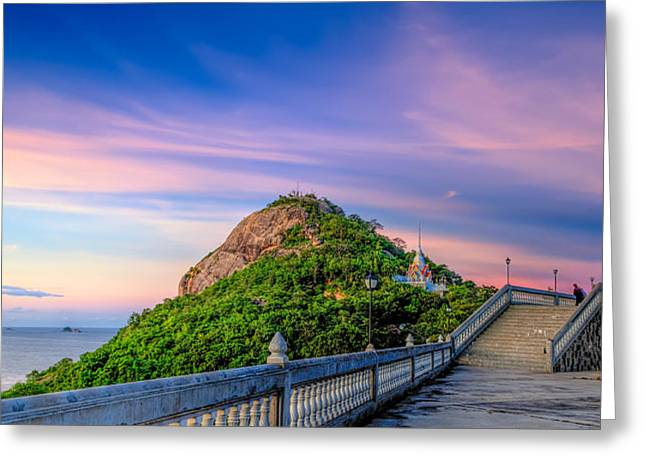 Temple Sunset Greeting Card by Adrian Evans