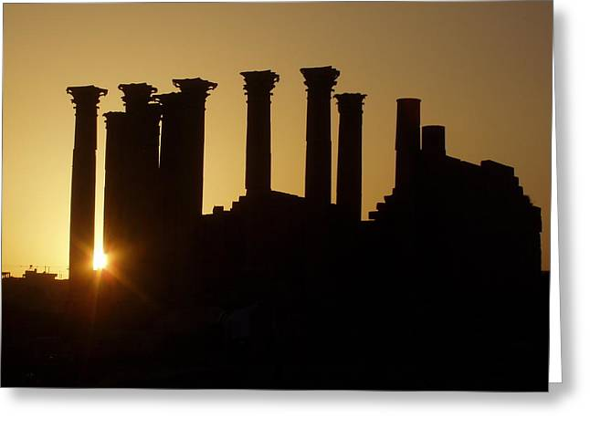 Temple Reliefs Greeting Cards - Temple Sunset Greeting Card by James Tweedie