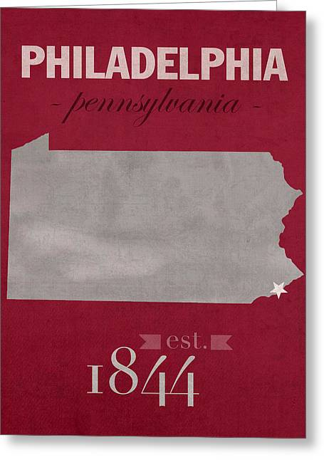 Philadelphia Mixed Media Greeting Cards - Temple University Owls Philadelphia Pennsylvania College Town State Map Poster Series No 103 Greeting Card by Design Turnpike