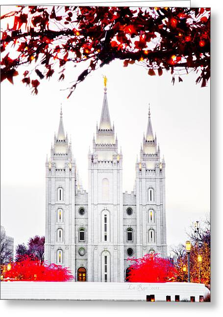 Utah Temple Photography Greeting Cards - Temple White n Red Greeting Card by La Rae  Roberts