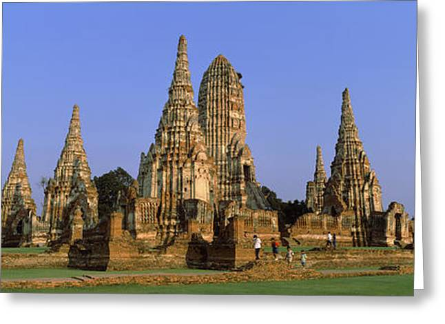 Ayutthaya Greeting Cards - Temples In A Field, Wat Greeting Card by Panoramic Images
