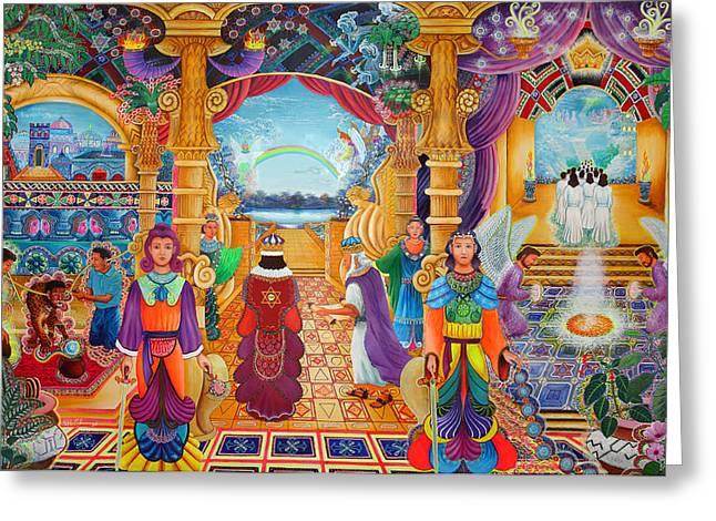 Ayahuasca Visions Greeting Cards - Templo Sacrosanto Greeting Card by Pablo Amaringo