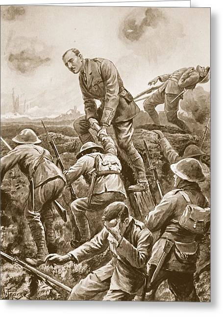 Bravery Drawings Greeting Cards - Temporary Major S.w. Loudoun-shand Greeting Card by Alfred Pearse