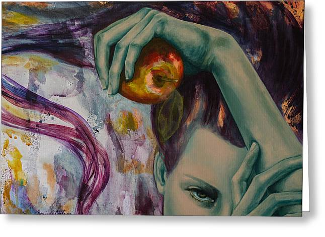 Live Art Greeting Cards - Temptation  Greeting Card by Dorina  Costras