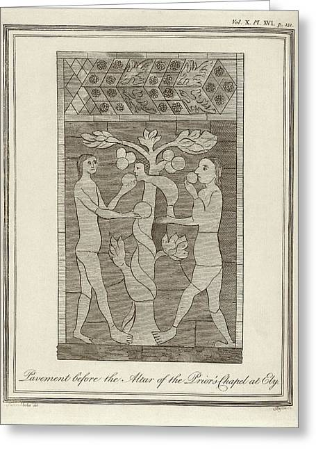 Temptation Of Adam And Eve Greeting Card by Middle Temple Library