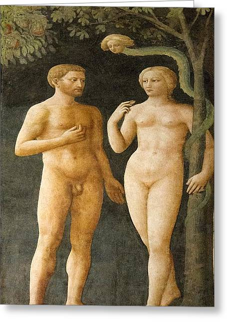 Temptation Of Adam And Eve Greeting Card by Sheila Terry