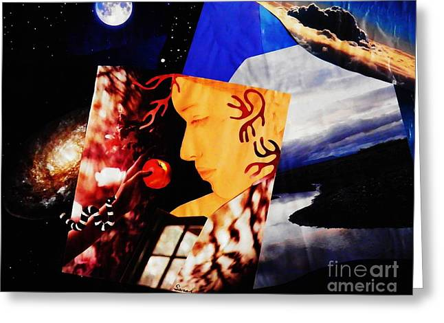 Religious Mixed Media Greeting Cards - Temptation of Eve Greeting Card by Sarah Loft