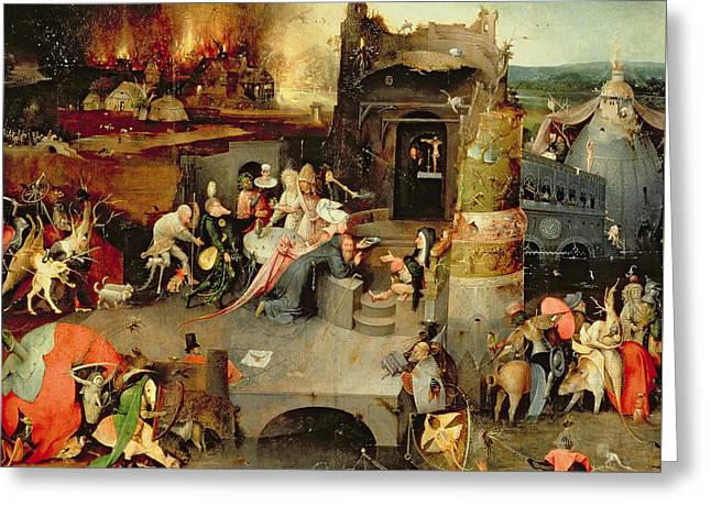 Temptation Of Saint Anthony Centre Panel  Detail Greeting Card by Hieronymus Bosch