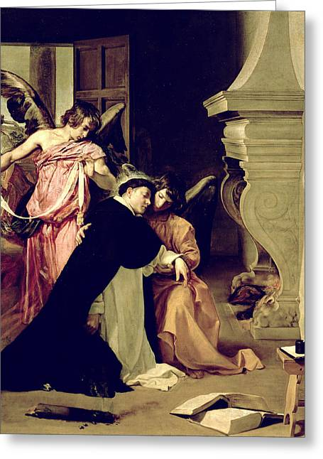D Greeting Cards - Temptation Of St.thomas Aquinas Oil On Canvas Greeting Card by Diego Rodriguez de Silva y Velazquez