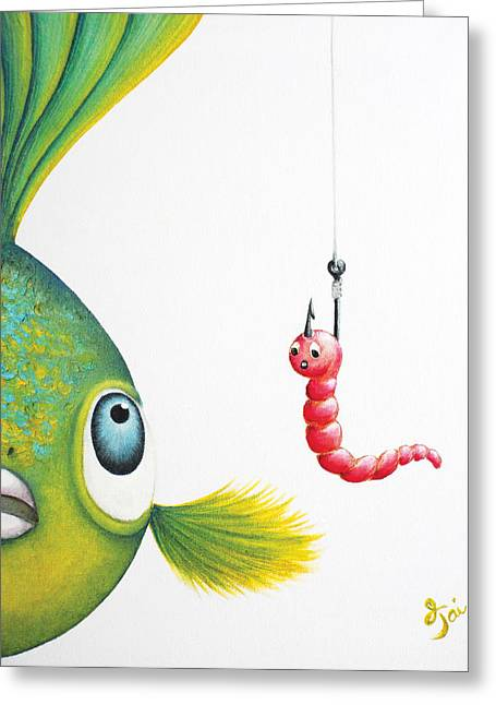 Betta Paintings Greeting Cards - Temptation Greeting Card by Oiyee  At Oystudio