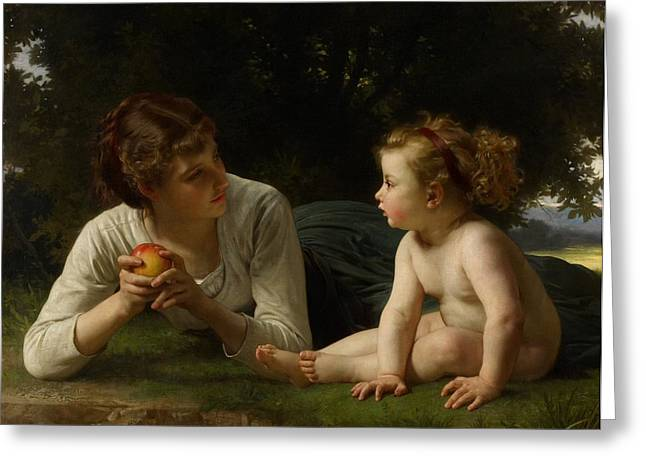 Toddler Girl Greeting Cards - Temptation Greeting Card by William Adolphe Bouguereau