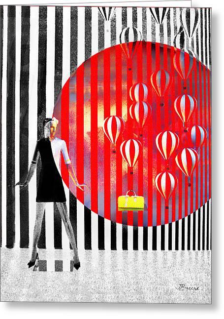 Balloon Flower Digital Art Greeting Cards - Temptations Greeting Card by Jennie Breeze