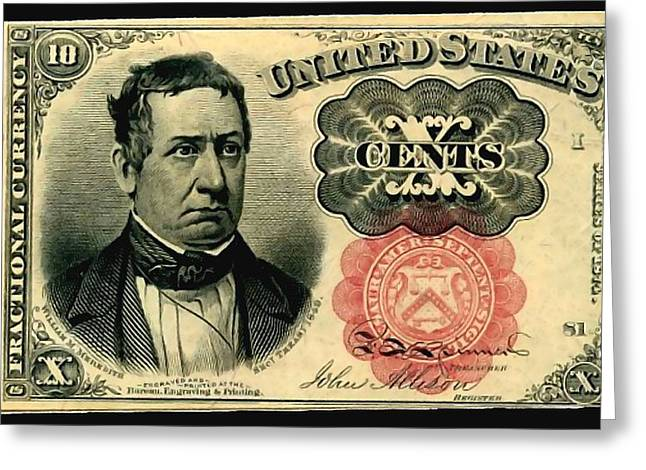 Ten Cents 5th Issue U.s. Fractional Currency Fr 1266 Greeting Card by Lanjee Chee