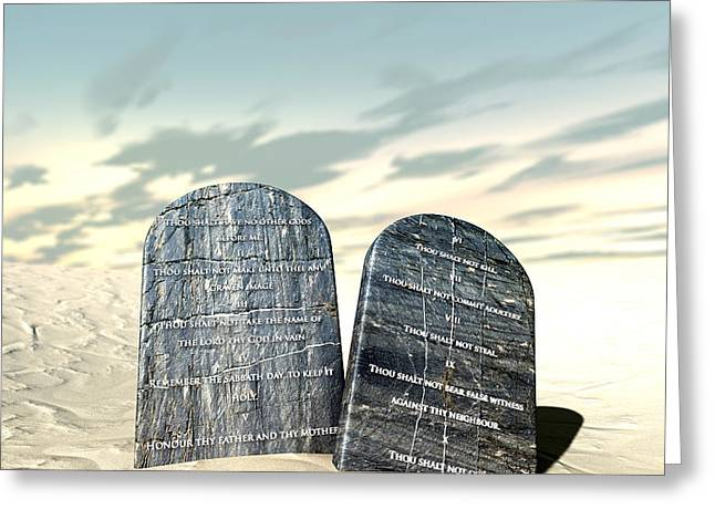 Ten Commandments Standing In The Desert Greeting Card by Allan Swart