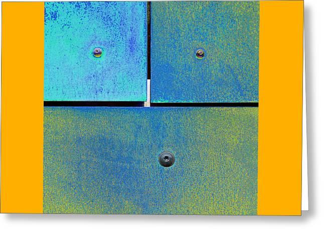 Gold Lime Green Digital Greeting Cards - Ten Eleven Twelve - Colorful Rust - Cyan Lime Greeting Card by Menega Sabidussi