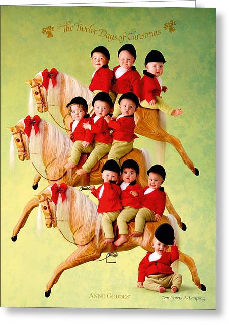 12 Days Of Christmas Greeting Cards - Ten Lords-a-Leaping Greeting Card by Anne Geddes