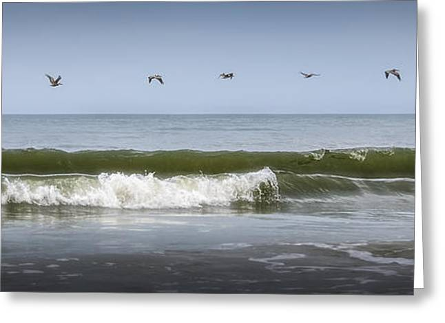 Abstract Beach Landscape Greeting Cards - Ten Pelicans Greeting Card by Steven Sparks