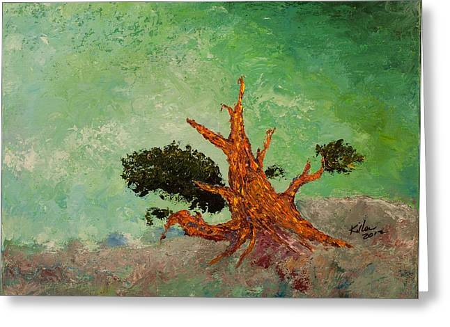 Pallet Knife Greeting Cards - Tenacity Greeting Card by William Killen