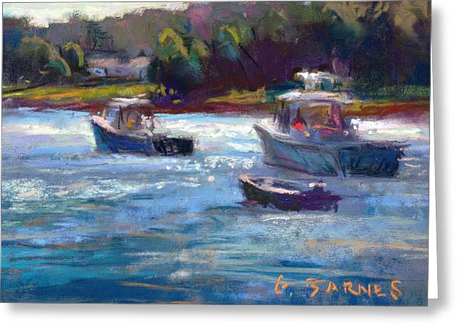 Maine Landscape Pastels Greeting Cards - Tenants Harbor Boats Greeting Card by Greg Barnes