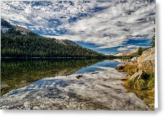 Cloudy Days Greeting Cards - Tenaya Lake Reflections Greeting Card by Cat Connor