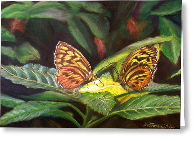 Butterflies Pastels Greeting Cards - Tender Moment   Pastel Greeting Card by Antonia Citrino