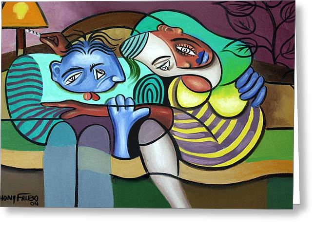 Cubism Prints Greeting Cards - Tender Moments Greeting Card by Anthony Falbo