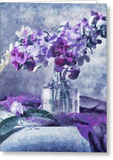 Fine Mixed Media Greeting Cards - Tender Moments Still Life Greeting Card by Georgiana Romanovna