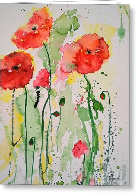 Gruenwald Greeting Cards - Tender Poppies - Flower Greeting Card by Ismeta Gruenwald