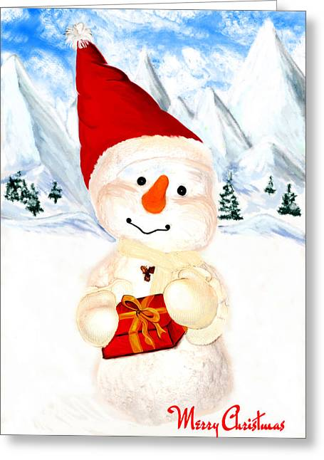 Christmas Greeting Cards - Tender Snowman Greeting Card by Gina Dsgn