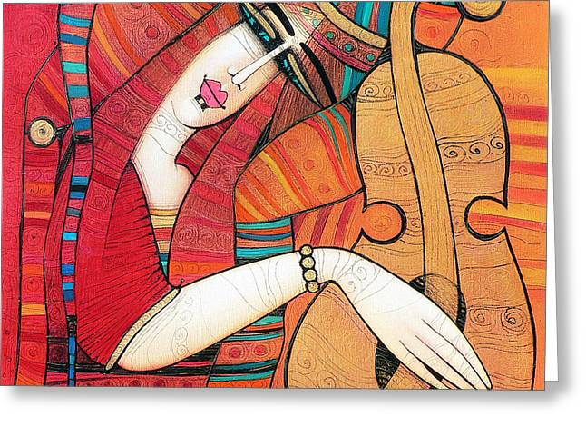 Guitare Greeting Cards - Tenderly Greeting Card by Albena Vatcheva